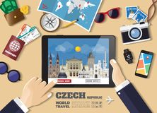 Hand holding smart tablet booking travel destination.Czech famous places.Vector concept banners in flat style with the set of royalty free stock images