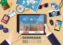 Hand holding smart tablet booking travel destination.Denmark famous places.Vector concept banners in flat style with the set of stock photos