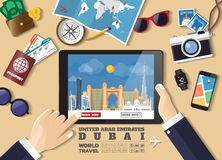 Hand holding smart tablet booking travel destination.Dubai famous places.Vector concept banners in flat style with the set of stock photos