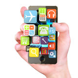 Hand holding Smartphone apps. Touchscreen smartphone with application software icons extruding from the screen, isolated on white Royalty Free Stock Image