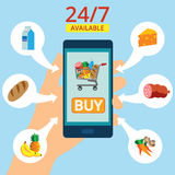 Hand holding smartphone with basket on the screen. Purchases are available 24 hours. Order food online. Flat vector illustration.  Royalty Free Stock Images
