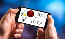 Big idea concept on a smartphone. Hand holding a smartphone with big idea concept Stock Photo