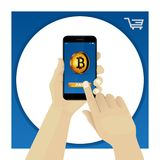 Hand holding smartphone with bitcoin. Finger pressing the button. Pay. Contactless payment. Vector Royalty Free Stock Image