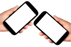 Hand holding smartphone. With blank screen isolated on white Stock Images