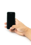 Hand holding smartphone with blank screen isolated Stock Photos