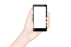 Hand holding a smartphone with blank screen Royalty Free Stock Photo