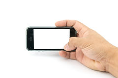 Hand holding smartphone with blank screen Royalty Free Stock Photo