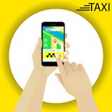 Hand holding smartphone booking taxi. Finger pressing the button. Contactless payment. Vector Stock Photo