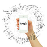 Hand holding smartphone. Business sketches Royalty Free Stock Photography