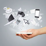 Hand holding smartphone. Concept electronics Stock Image