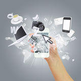 Hand holding smartphone. Concept electronics Royalty Free Stock Photography
