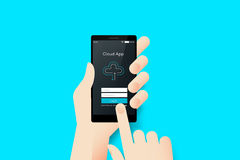 Hand Holding Smartphone With Conceptual Cloud Mobile Application Interface.. Hand Holding Smartphone With Conceptual Cloud Royalty Free Stock Photos