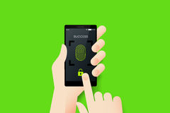 Hand Holding Smartphone With Conceptual Unlocked Fingerprint Recognition Stock Photo