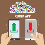 Hand holding smartphone connected to cloud services Royalty Free Stock Images
