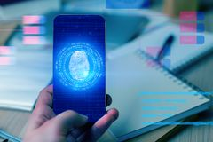 ID and access concept. Hand holding smartphone with digital fingerprint. ID and access concept. Double exposure Royalty Free Stock Photos