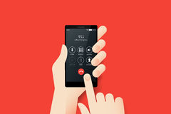 Hand Holding Smartphone With Emergency Call 911 On The Screen.. Material Design Vector Illustration Stock Images