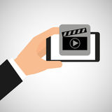 Hand holding smartphone film movie. Vector illustration eps 10 Stock Photos