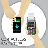 Hand holding smartphone. Finger pressing the button pay. Contact. Less payment. POS terminal. Vector Royalty Free Stock Images