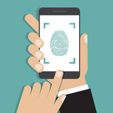 Hand holding smartphone with finger print. Vector illustration. Hand  holding smartphone with finger print. Vector illustration Royalty Free Stock Photos