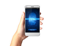 Hand holding Smartphone with Fingerprint scanners on display. Hand holding Smartphone with Fingerprint scanners on display Royalty Free Stock Photography