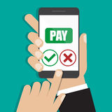 Hand holding smartphone in a flat design. Receiving phone pay. Vector illustration eps10 Royalty Free Stock Photo