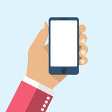 Hand holding smartphone. Flat design, vector. Phone in hand man. Stock Image