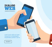 Hand holding smartphone icons Royalty Free Stock Photography
