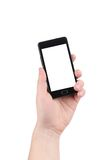 Hand holding smartphone. Isolated on a white background Royalty Free Stock Images