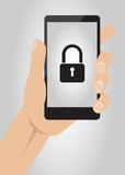 Hand holding smartphone with lock icon on display. Mobile Security. Concept,  illustration Royalty Free Stock Images