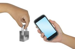 Hand holding smartphone with lock Stock Photo