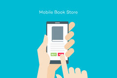 Hand holding smartphone with online mobile book store. Flat vector conceptual illustration Stock Photos