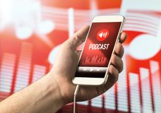 Hand holding smartphone with podcast app on screen. Mobile phone with application on abstract background Stock Photos