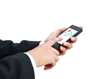 Hand holding smartphone and pressing Royalty Free Stock Photography