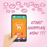 Hand holding a smartphone purchase via phone, shopping icons, ve Royalty Free Stock Photography