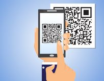 Hand holding smartphone with QR code, business concept. Vector illustration Royalty Free Stock Photography
