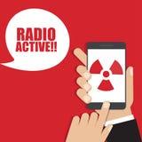 Hand holding smartphone with radiation icon. Vector illustration stock illustration