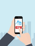 Hand holding smartphone with rent apartments, homes mobile application on screen. Vector illustration. Stock Photo
