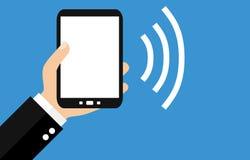 Smartphone: Sending Data - Flat Design. Hand holding Smartphone: Sending Data - Flat Design Royalty Free Stock Photos