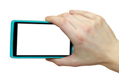 Hand holding smartphone. Shooting with a smartphone. Stock Images