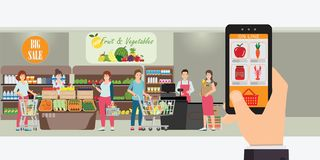 Hand holding smartphone with shopping app, Interior store inside, Grocery delivery internet order, Online supermarket concept. Vector illustration royalty free illustration