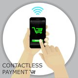 Hand holding smartphone with shopping cart. Finger pressing the. Button pay. Contactless payment. Vector Stock Images