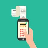 Hand holding smartphone with shopping check. Concept of mobile payments, e-commerce and pay for service. isolated on green background. flat style trendy modern Royalty Free Stock Photos
