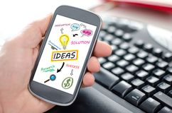 Ideas concept on a smartphone Royalty Free Stock Images