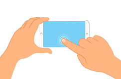 Hand holding smartphone. Sign in page on phone screen. Vector illustration eps 10 isolated on background. Hand holding smartphone. Sign in page on phone screen Stock Images