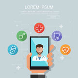 Hand holding smartphone with site of clinic. Medical consultation concept. Vector flat illustration. Royalty Free Stock Photo