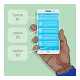Hand holding a smartphone with some mobile application. Element for flat infographics Royalty Free Stock Photography