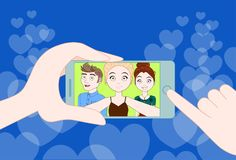 Hand Holding Smartphone Taking Selfie Photo Of Young Group Of Friends Together stock illustration