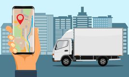 Hand holding smartphone for tracking delivery. City skyline and truck. Vector Illustration
