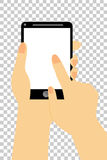 Hand - Holding Smartphone at Transparent Effect Background Stock Image