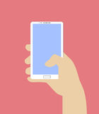 Hand holding Smartphone. Vector illustration in flat design style. Royalty Free Stock Photos